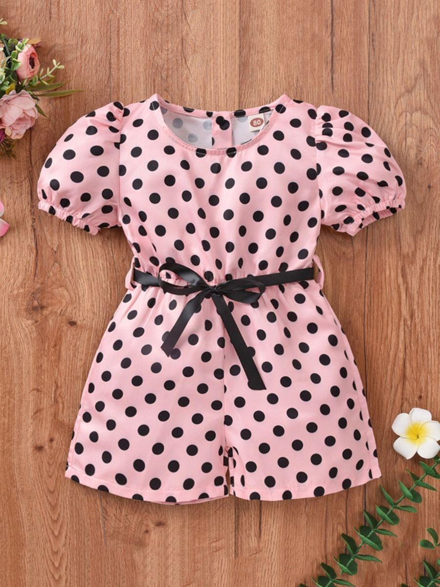 kiskissing wholesale Wholesale Baby Kid Girl Puff Sleeve Polka Dots Romper