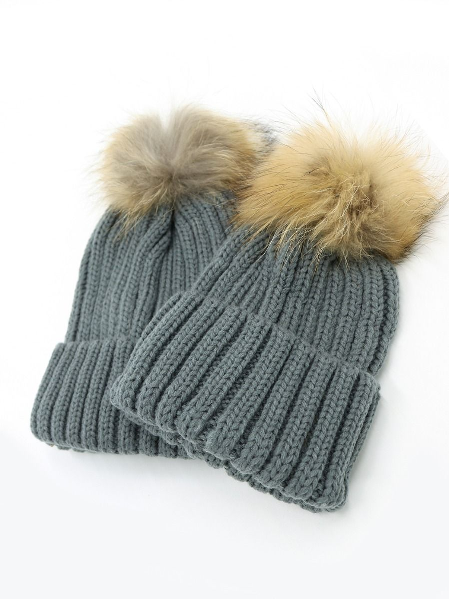 ... Knitted Hat Mommy And Me Thickened Thermal Woolen Hat ... 0ff11fe98c8