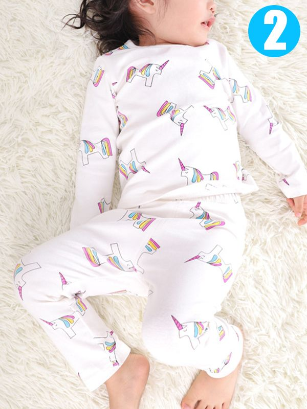 1e234dfdee ... 2 piece Baby Kids Cartoon Pajamas Set Cute Cotton Unicorn Penguin Dog Toddler  Sleepwear ...