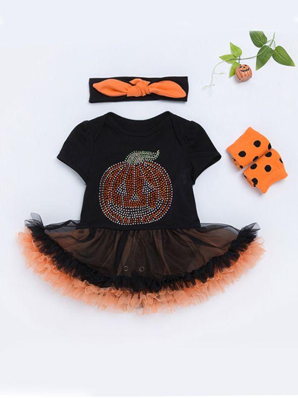 halloween 3 piece pumpkin tulle tutu dress like romper headband leg warmers set for baby girls
