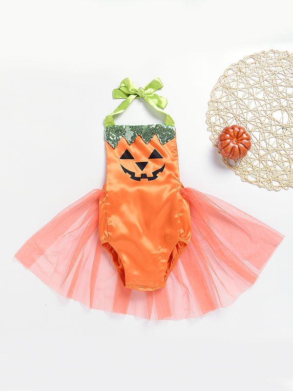 halloween costume pumpkin sequin bowknot tulle baby girls romper bodysuit