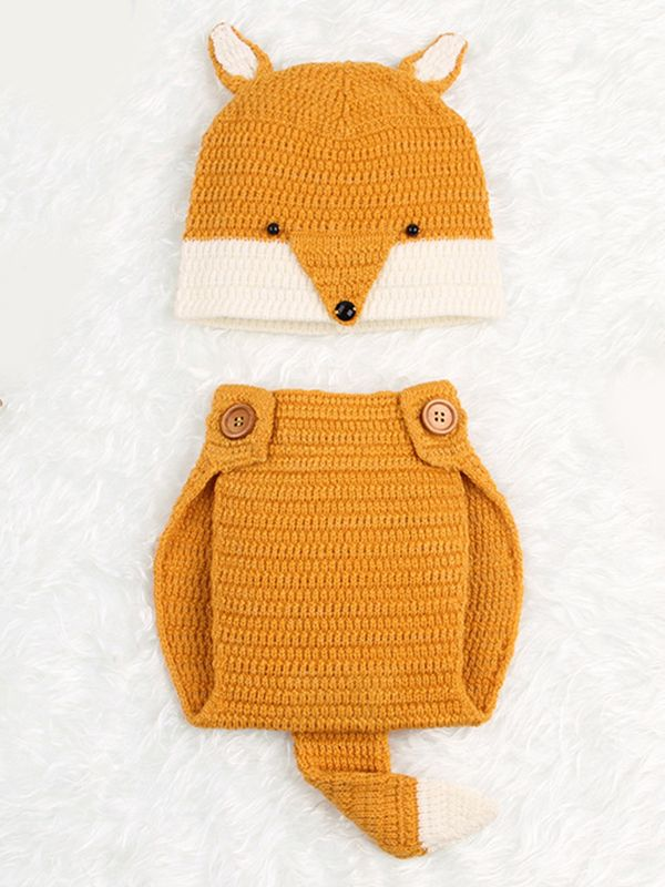 Wholesale 2 Piece Cute Fox Pattern Knitted Hat Shorts