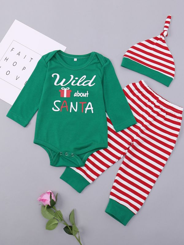 Wholesale Cute Xmas Baby Clothes Set Striped Hat And