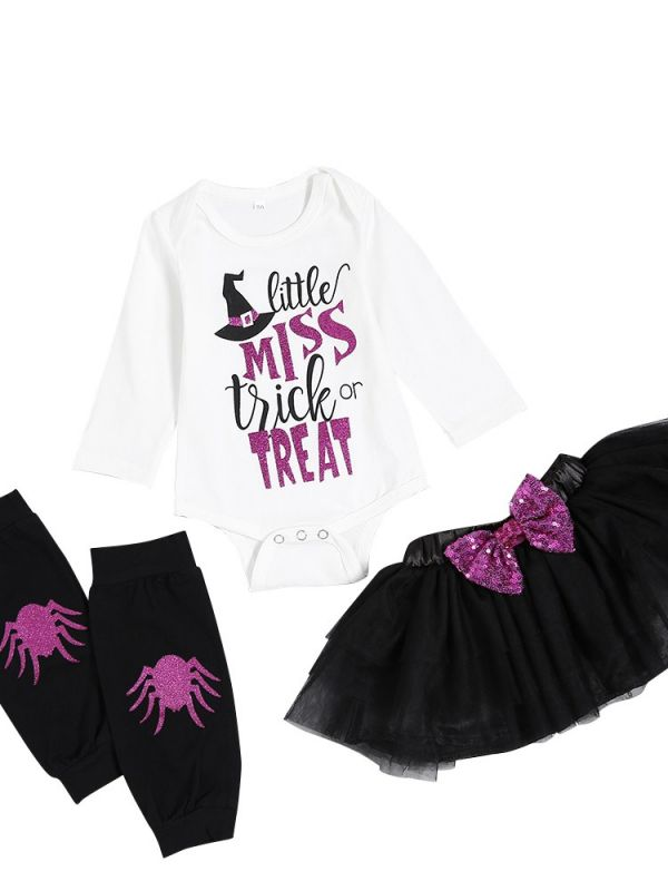 3 piece baby toddler halloween costume oufit set bow little miss trick or treat shiny sequin letter print romper and scalloped trim tulle skirt with sequin