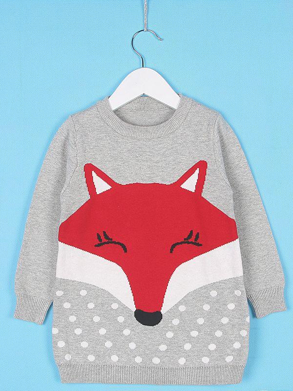 Wholesale Cute Fox Pattern Knitted One Piece Dress