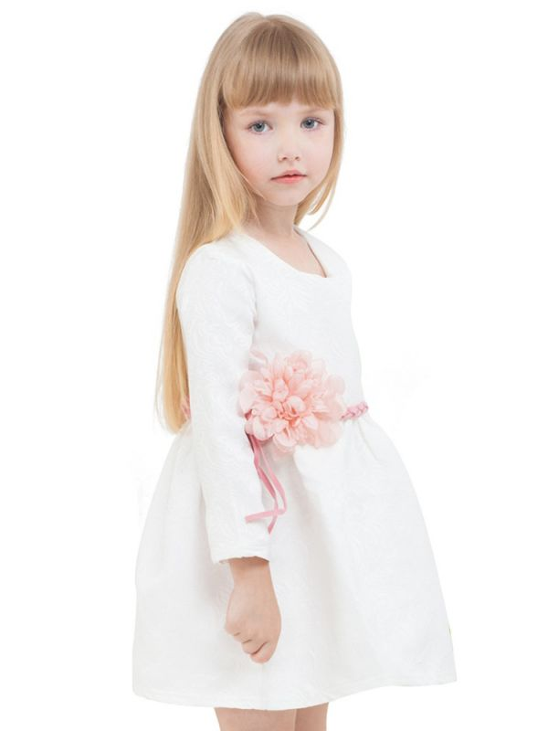 Wholesale Toddler Big Girls Floral White Christening