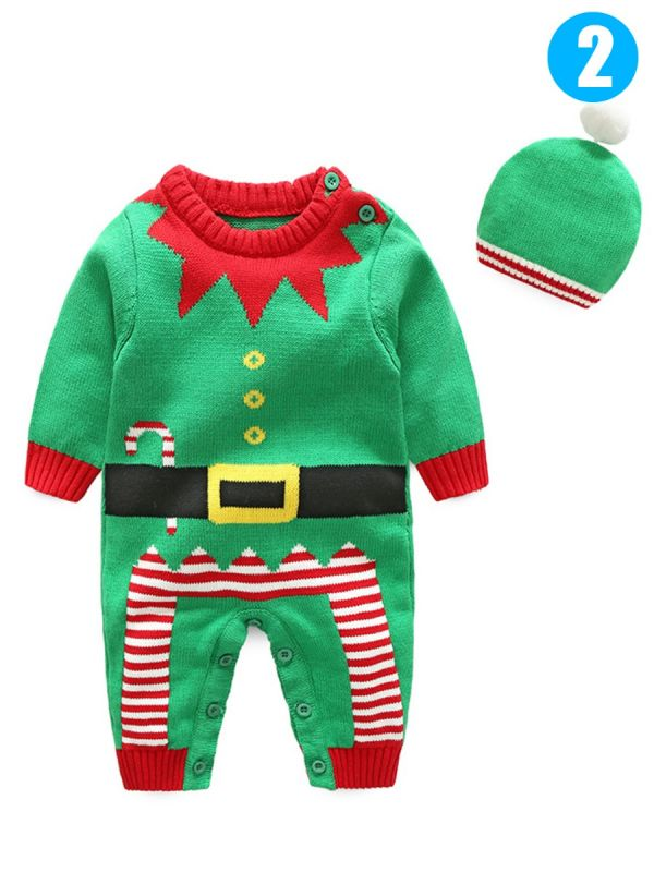2pcs xmas baby boys girls knit romper hat set outfit baby clothes jumpsuit christmas costumes santa clausechristmas treechristmas bear pattern