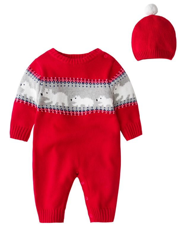 2pcs baby boys girls christmas costumes outfit set knitted bear infant romper and red hat