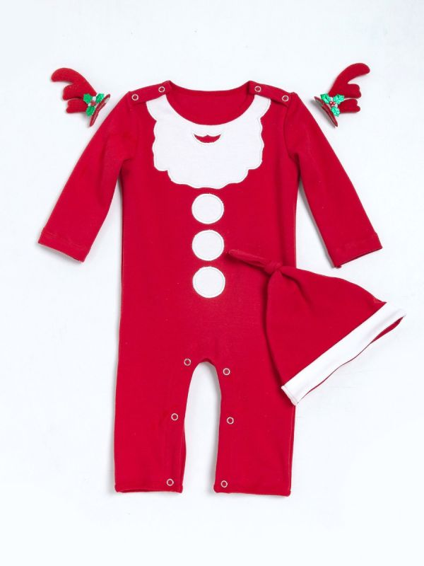 white and red santa clause pattern baby bodysuit romper with hat kids christmas clothes outfit set - Christmas Clothes For Kids