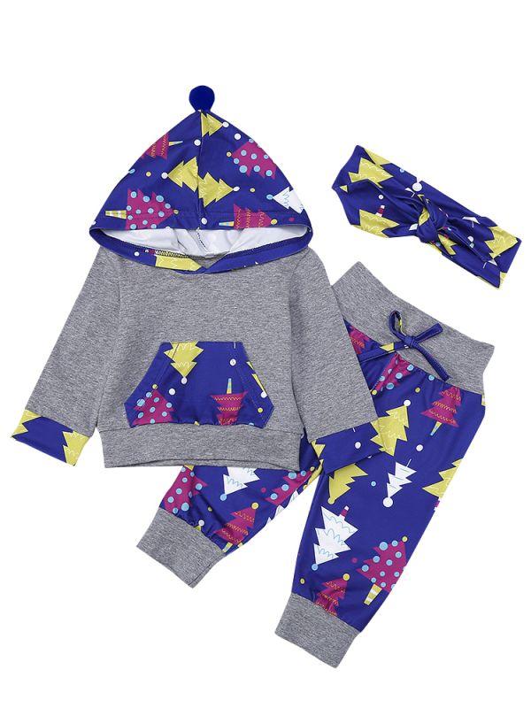 3pcs baby girl christmas clothes set hoodie jumper christmas tree print long pants headband
