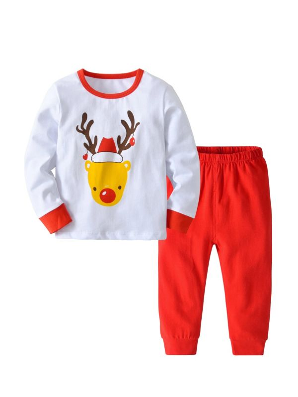 2pcs infant toddler children christmas outfits christmas reindeer print t shirt top red long trousers - Wholesale Christmas Pajamas