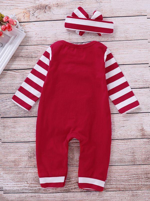 My 1st Christmas Baby Romper Pajama with Striped Headband ...