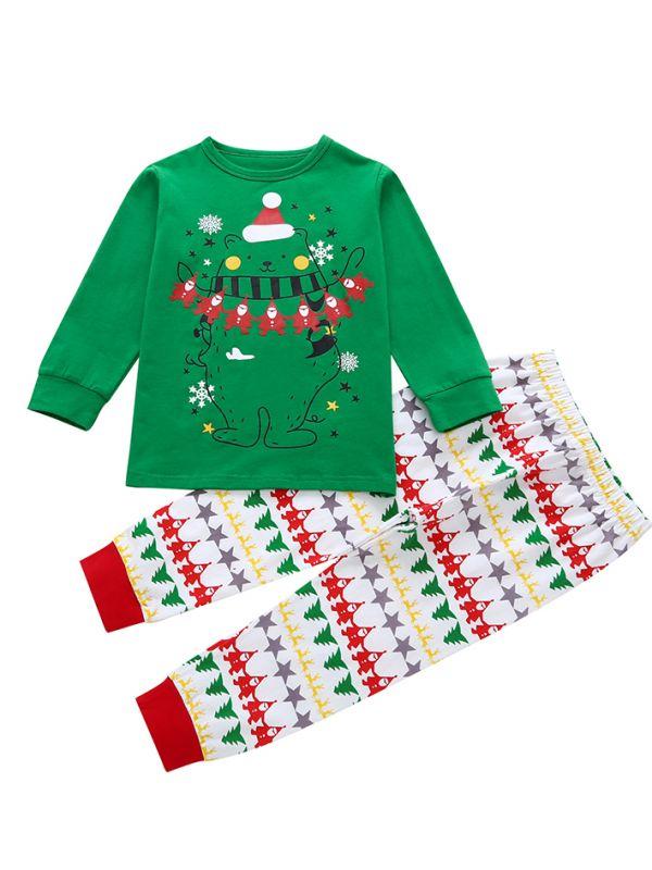Wholesale 2PCS Toddler Big Kids Christmas Clothes Set