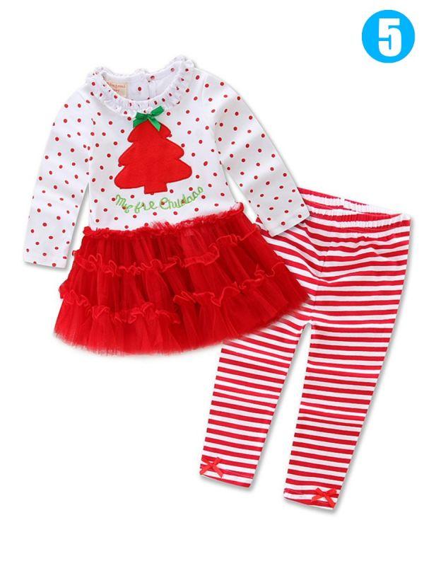baby toddler girls christmas clothes costume set santa clausechristmasreindeer bow t shirtdress toplong pants
