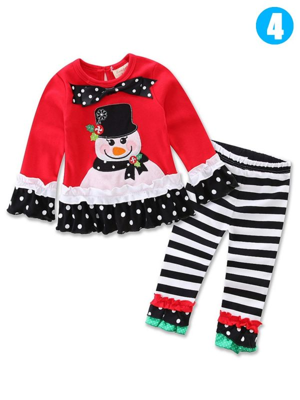 baby toddler girls christmas clothes costume set santa clausechristmasreindeer bow t shirtdress toplong pants