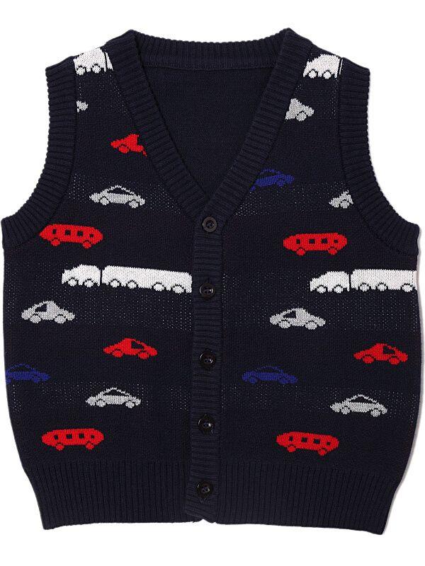 cars pattern sleeveless knitting cardigan sweater vest