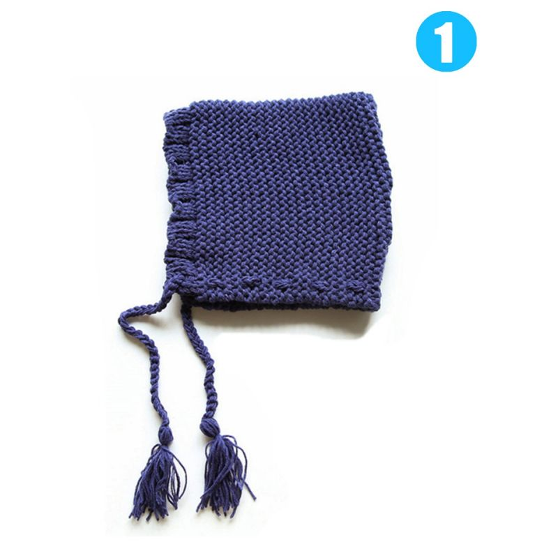 Japanese Style Solid Color Tassel Trimmed Knitted Hat for Baby Toddlers