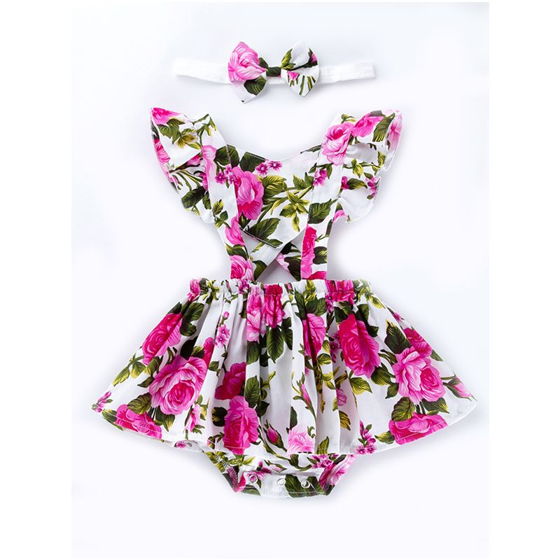 Flower Flutter Sleeve Romper Dress Suspender Clothes Outfits with Headband