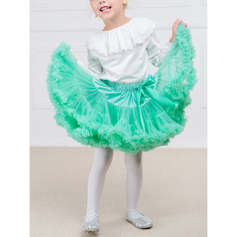 Solid Color Fold Baby Girl Tutu Skirt Preschooler Kids Pettiskirt