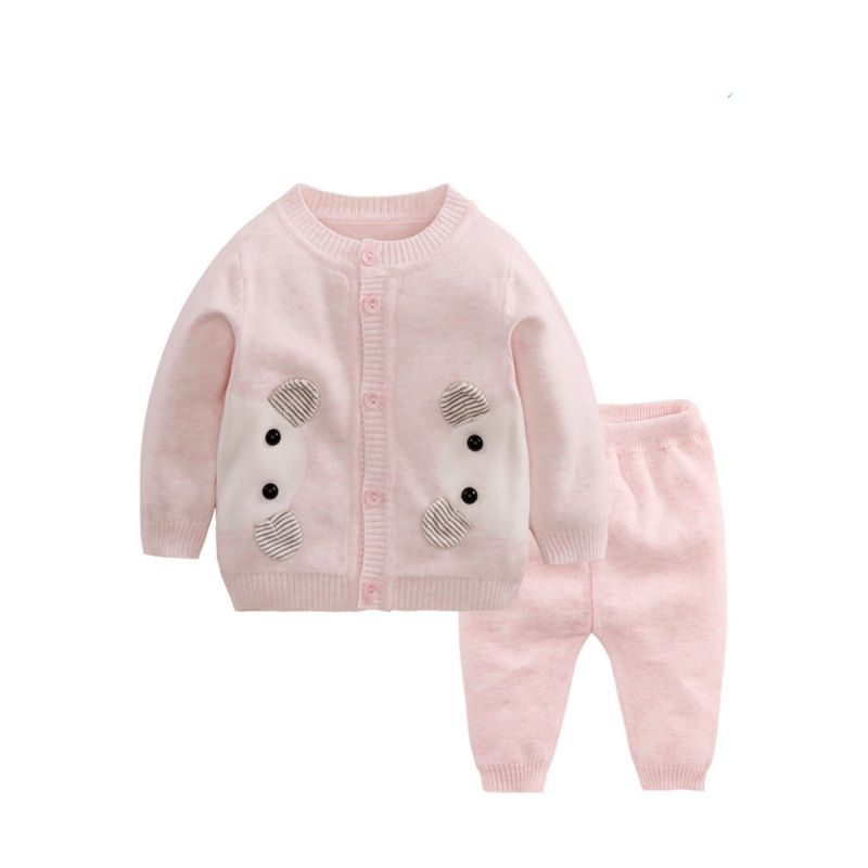 2PCS Cartoon Pattern Knitted Baby Unisex Cardigan and Pants set Outfit for Autumn Winter
