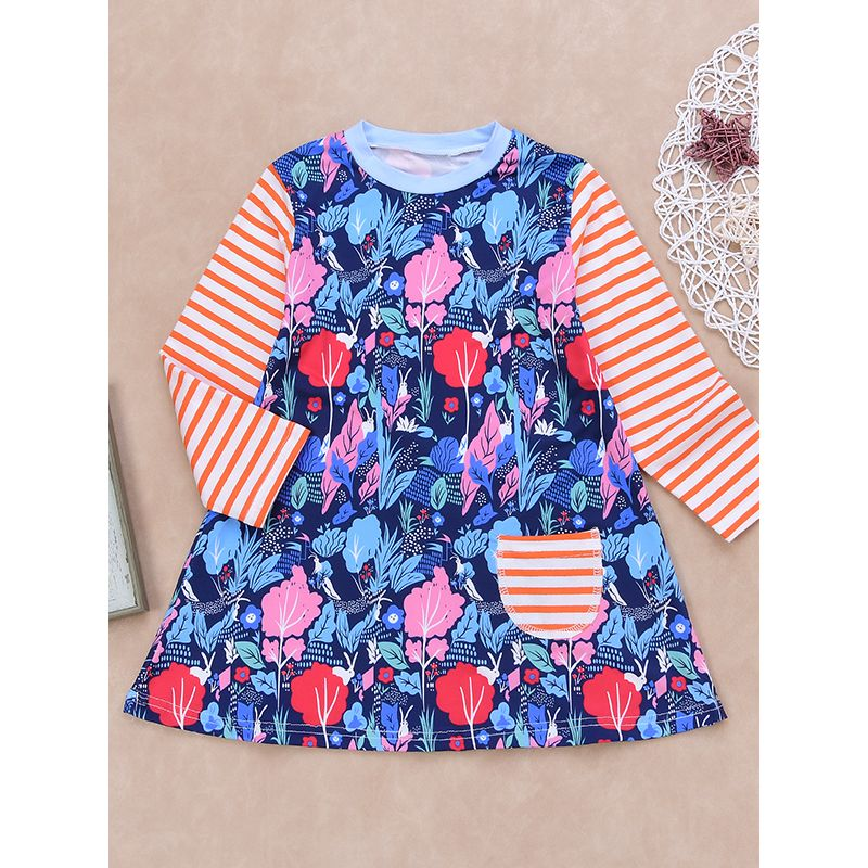 Trees Flowers Bunnies Print Stripes Pocket Baby Toddler Girls Dress