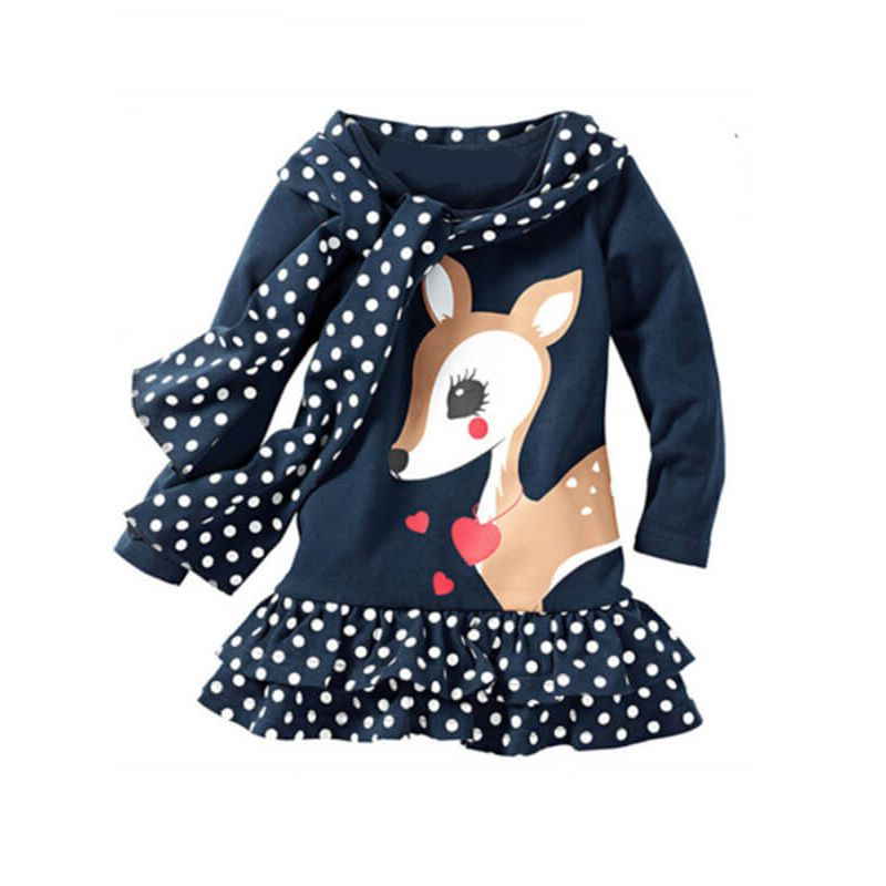 Kiskissing Cute Deer Pattern Dotted Hem Dress for Babies Toddlers Girls wholesale children's boutique clothing suppliers