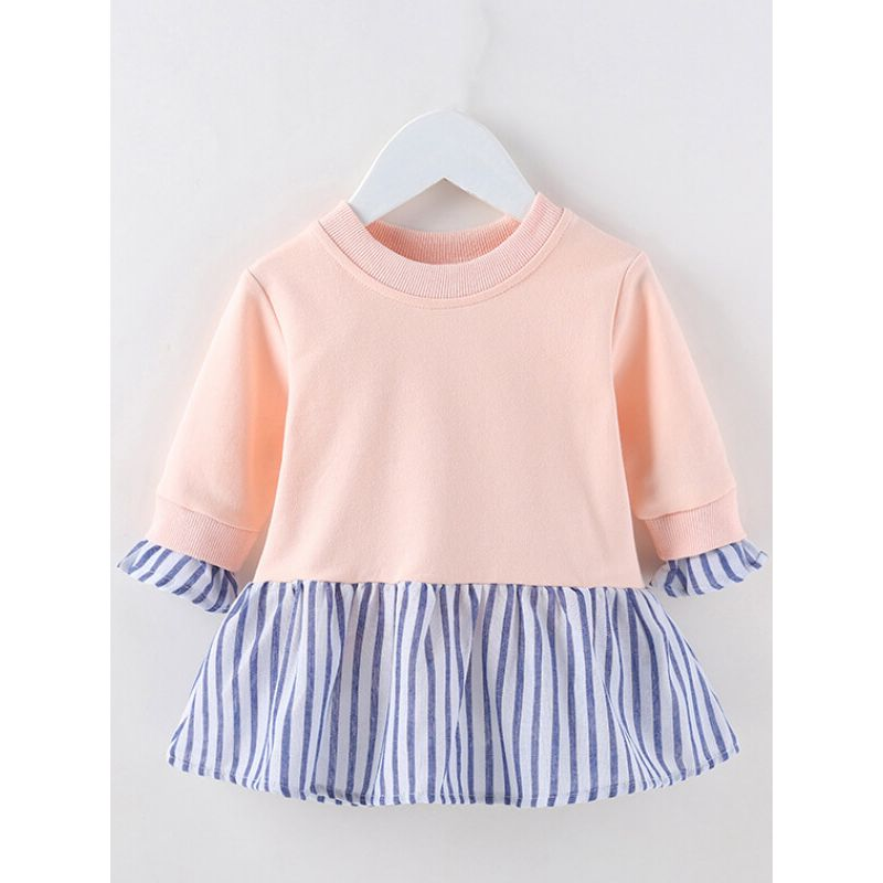 Stripe Pattern Paneled Dress for Babies Toddlers Girls the obverse side wholesale little girl clothes