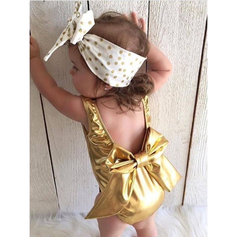Summer Bow Golden Sleeveless Romper for Babies