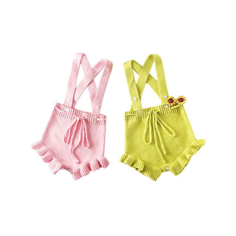 Kiskissing Solid Color Knitting Romper with Straps for Babies green & pink colors available wholesale baby clothes