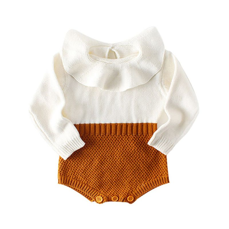 Kiskissing Doll Collar Paneled Knitting Romper for Babies brown wholesale baby clothes