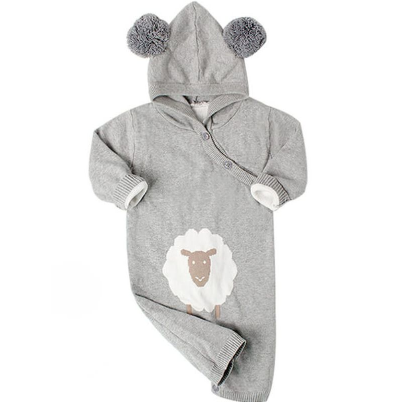 Kiskissing Hooded Buttoned Knitted Sheep Printed Romper Jumpsuit for Babies wholesale baby clothes