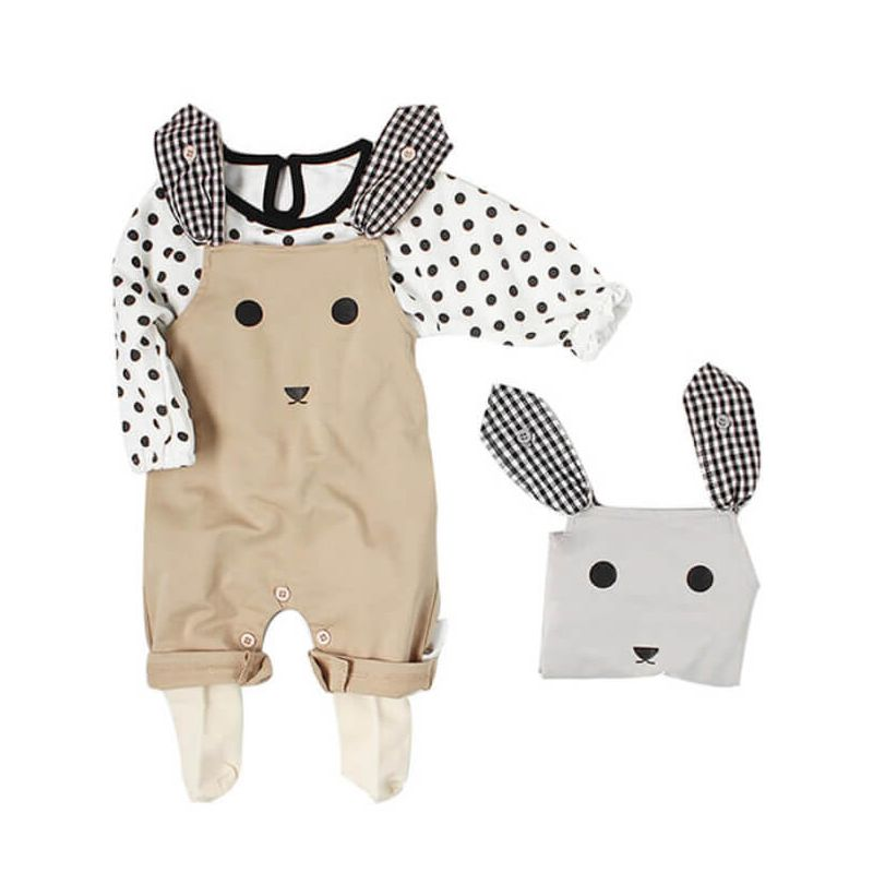 Kiskissing Cotton Sleeveless Shoulder-Strap Buttoned Romper for Babies khaki and grey colors available baby rompers wholesale