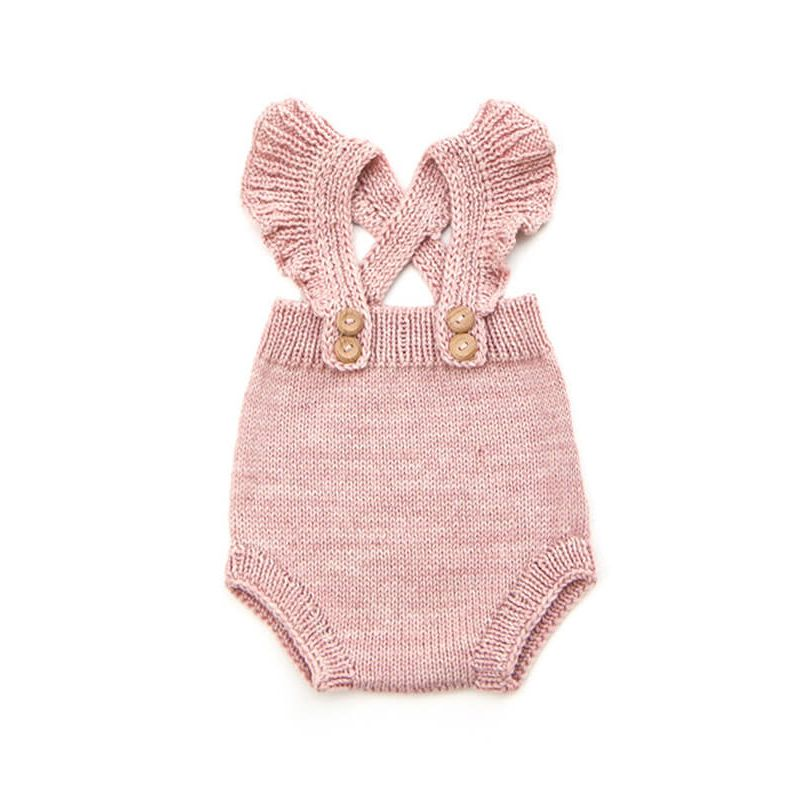 Kiskissing Pink Knitted Sleeveless Buttoned Romper for Babies the obverse side wholesale baby clothes