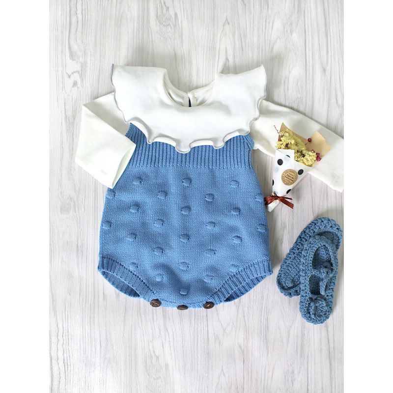 Kiskissing Sleeveless Knitted Buttoned Romper for Babies blue wholesale baby clothes