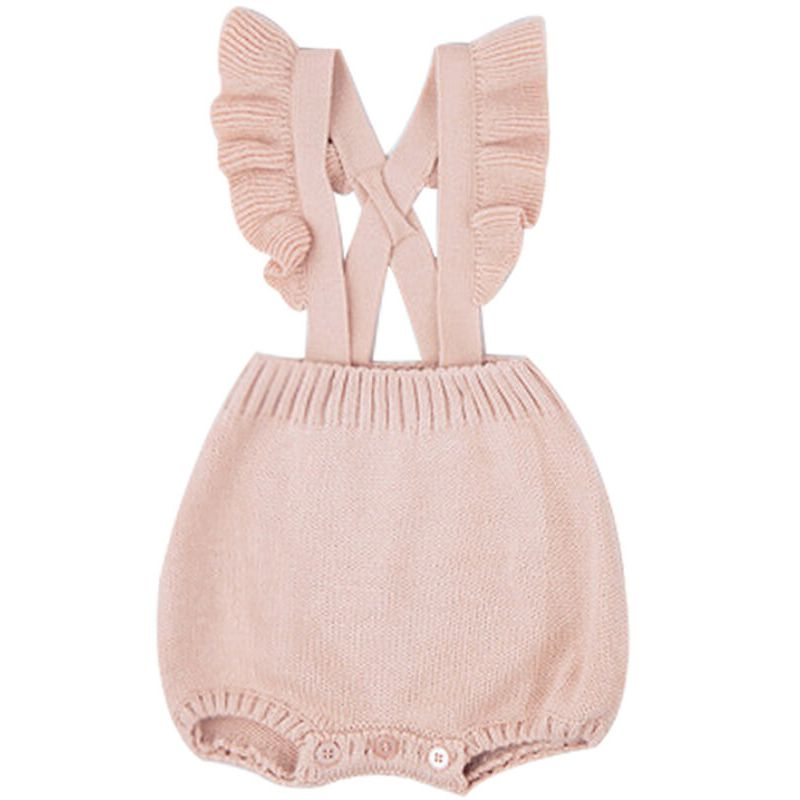 Kiskissing Strapped Sleeveless Cute Knitted Romper for Babies pink the obverse side wholesale baby clothes