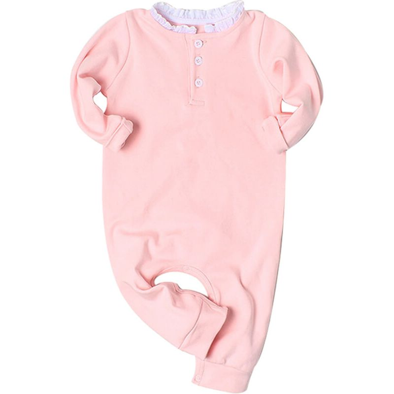 Kiskissing Wings Appliqued Long Sleeve Romper Jumpsuit for Babies pink the obverse side wholesale baby clothes