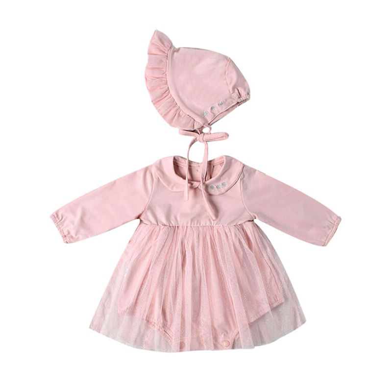 Kiskissing Cotton Mesh Romper Dress with Detachable Hat for Babies pink wholesale baby clothes