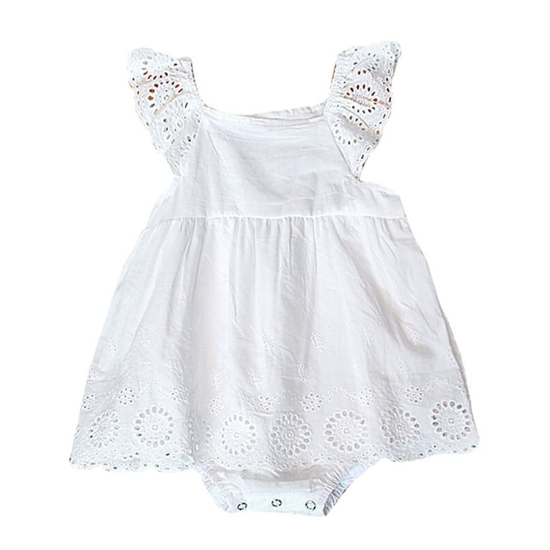 Kiskissing White Cotton Sleeveless Romper Dress for Babies Toddlers white the obverse side wholesale baby clothes