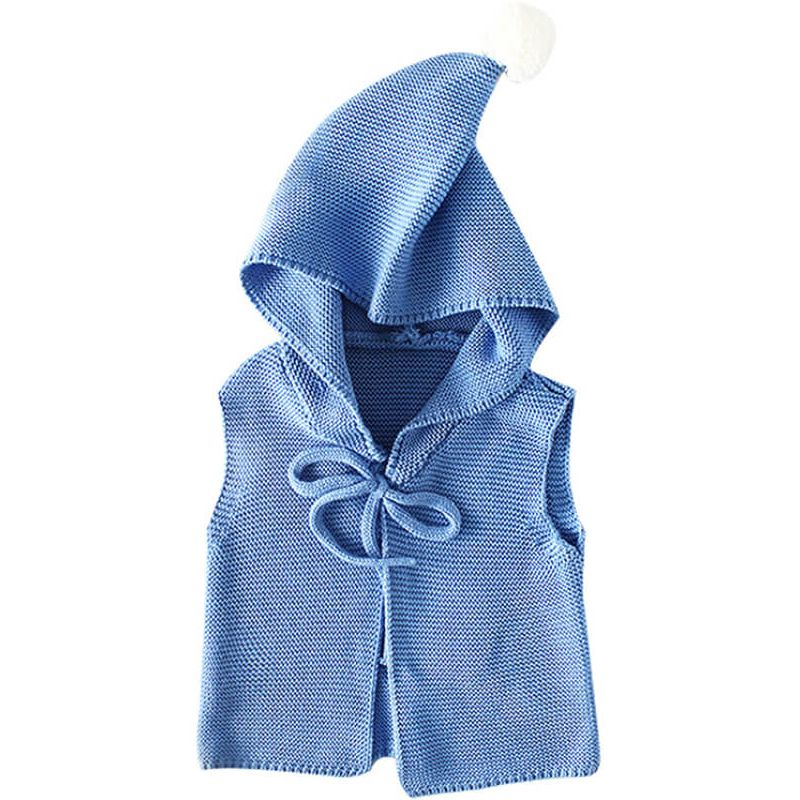Kiskissing Hooded Knitted Cardigan Sweater Vest for Babies Toddlers the obverse side