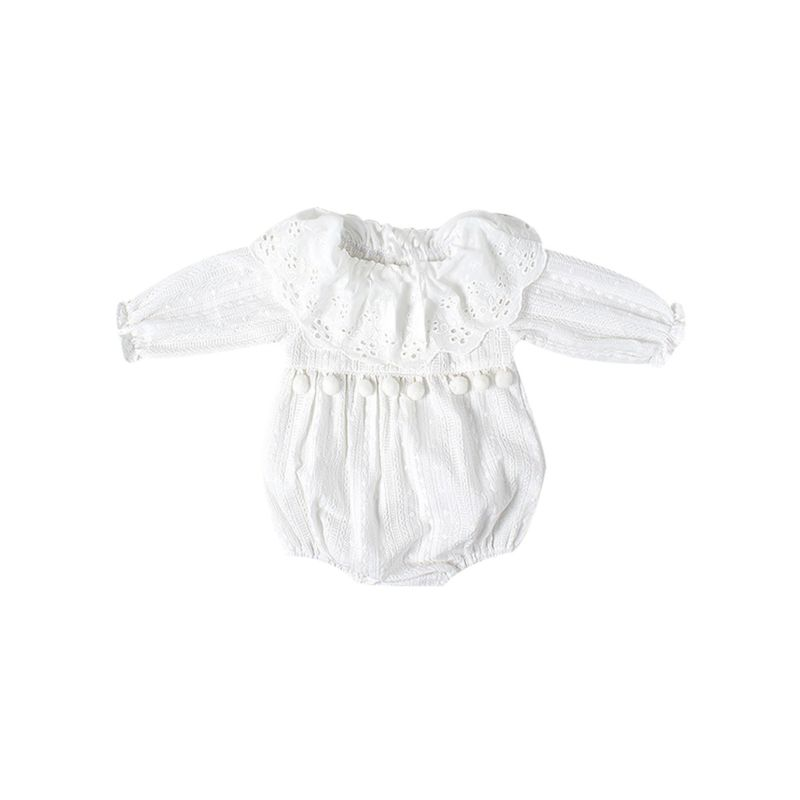 Spanish Style Short Sleeve Jacquard Lace Romper for Babies Toddlers