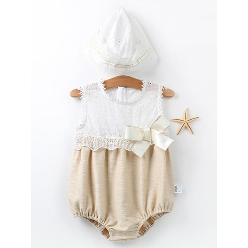 Kiskissing Paneled Sleeveless Romper Detachable Hat Set for Baby Girls