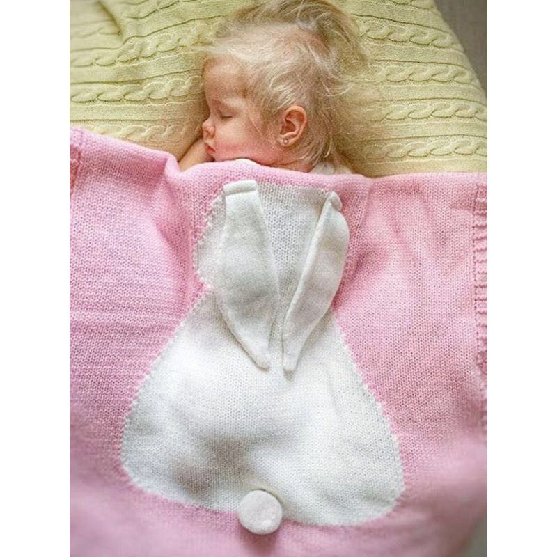 Cute Pink Rabbit Knitted Air Conditioning Blanket Cotton Yarn for Babies Toddlers Boys Girls