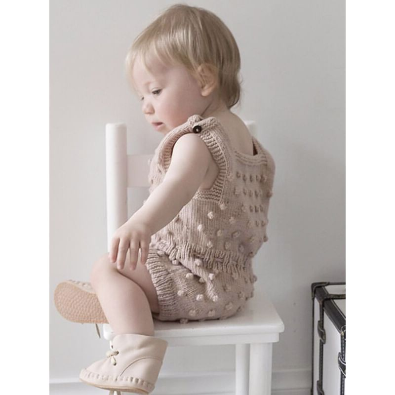Kiskissing Knitted Buttoned Sleeveless Romper for Babies solid color bodysuit handcrafted bubbles the model show