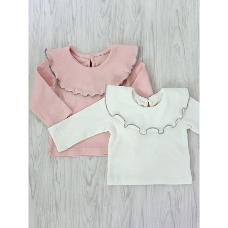 Kiskissing Ruffled Collar Long Sleeve Cotton Top for Babies pink and white colors available