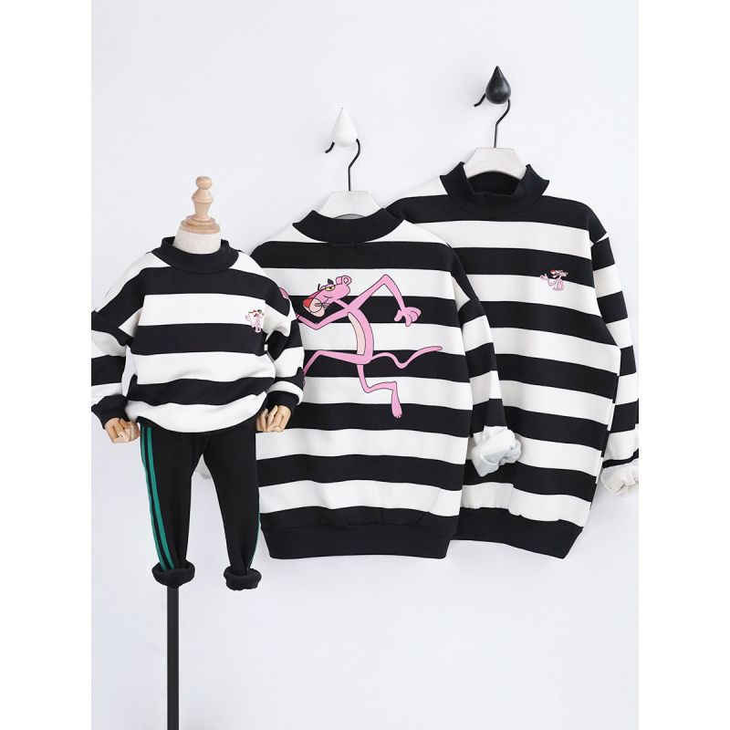 Printed Striped Pullover Warm Sweatshirt Top for Babies Toddlers Parents