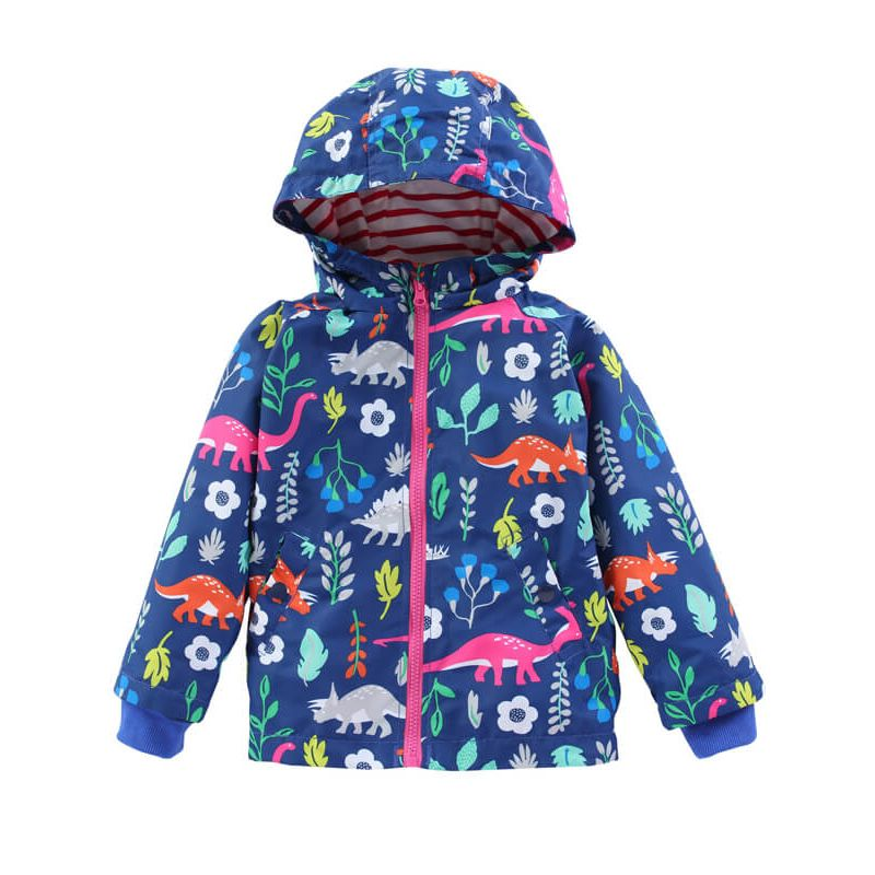 Kiskissing Hooded Zipped Printed Long Sleeve Coat for Toddlers Boys Girls deepblue the obverse side