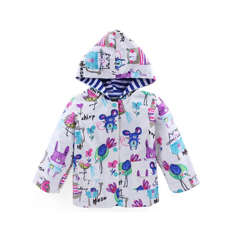 Kiskissing Hooded Buttoned Cartoon Printed Long Sleeve Coat for Toddlers Boys Girls white the obverse side