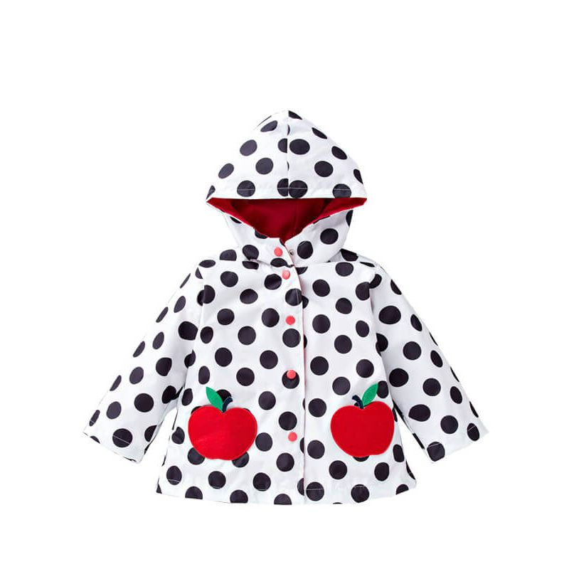 Kiskissing Hooded Buttoned Cartoon Printed Long Sleeve Coat for Toddlers Boys Girls apple the obverse side