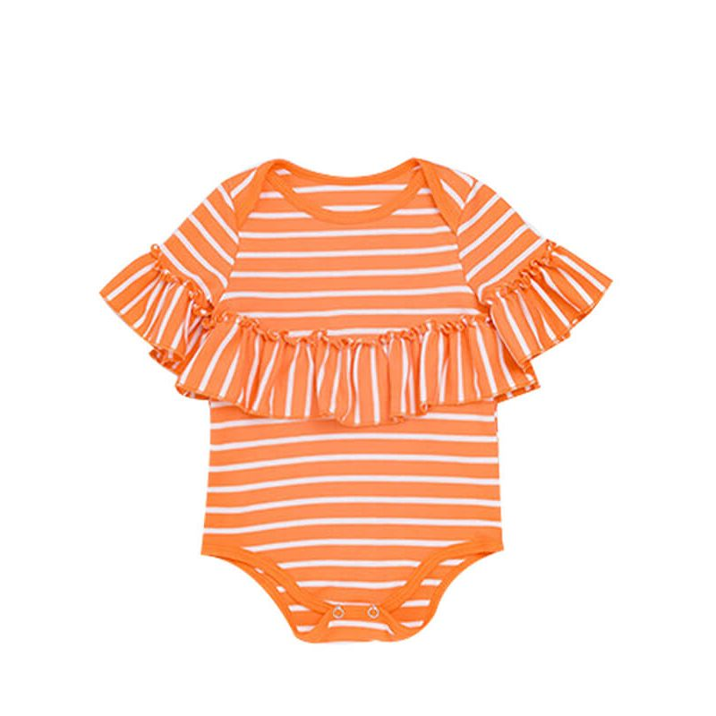 Kiskissing Striped Short Sleeve Romper with Hair Band for Babies orange the obverse side