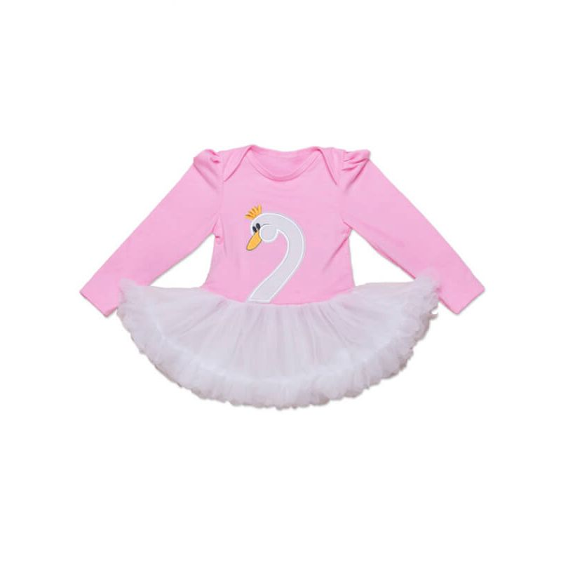 Kiskissing Long Sleeve Swan Pattern Romper Dress for Babies pink the obverse side